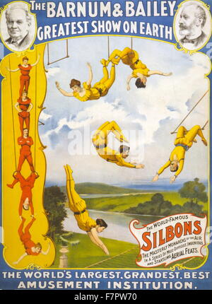 The Barnum & Bailey greatest show on earth c1896 : Circus poster showing trapeze artists. - Stock Photo