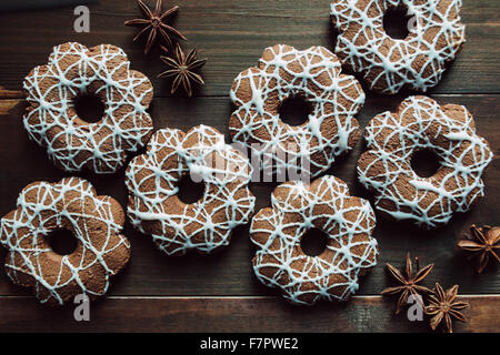 Christmas cookies with anise on the table - Stock Photo