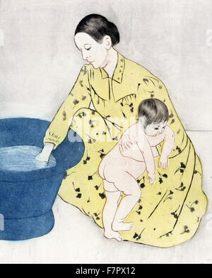 The bath, 1891 by Mary Cassatt 1844-1926, American artist. colour dry point, soft ground etching, and aquatint showing - Stock Photo