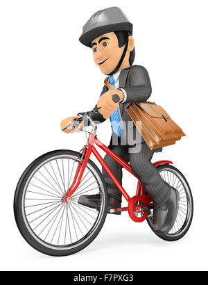 3d business people. Businessman going to work by bike. Isolated white background. - Stock Photo