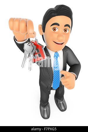 3d business people. Estate agent handing over the keys of a new house. Isolated white background. - Stock Photo