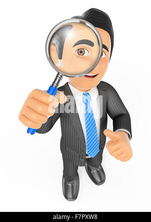 3d business people. Businessman looking through a magnifying glass. Isolated white background. - Stock Photo