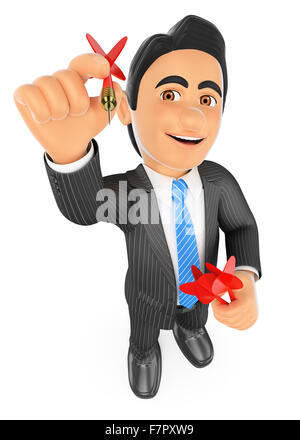 3d business people. Businessman aiming a dart to reach the target. Isolated white background. - Stock Photo