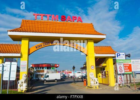 Main gate, SAPA, the Vietnamese market, Libus, Prague, Czech Republic - Stock Photo