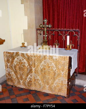 altar covering at St Michael and All Angels Anglican church, in Hughenden, Buckinghamshire, England. Closely associated - Stock Photo