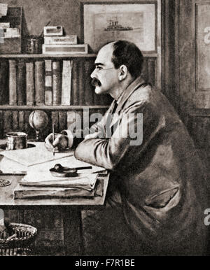 Joseph Rudyard Kipling, 1865 – 1936.   English short-story writer, poet, and novelist.  After the painting by Sir - Stock Photo