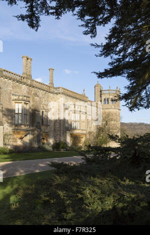 View of the south front of Lacock Abbey, Wiltshire, in February. - Stock Photo