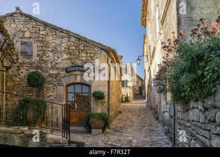 Village street in Lacoste,  Provence, France - Stock Photo