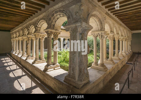 Romanesque cloisters in the Cathedral of the Holy Saviour, Cathedrale Saint Sauveur, in  Aix en Provence, France - Stock Photo
