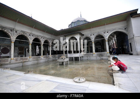 Fountains in a courtyard at the Topkapi Palace,Istanbul,Turkey - Stock Photo