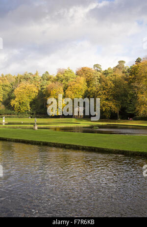 The autumn at Fountains Abbey and Studley Royal Water Garden, North Yorkshire. - Stock Photo