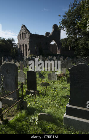 Grey Abbey, County Down. Grey Abbey is a ruined Cistercian priory in the village of Greyabbey. NOT NT LAND. - Stock Photo
