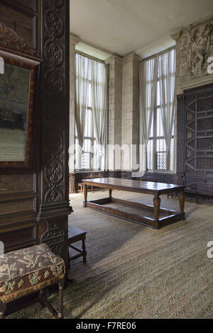 ... Furniture And Panelled Walls In The High Great Chamber, Hardwick Hall,  Derbyshire.