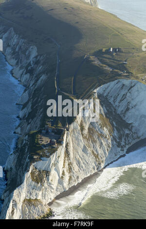An aerial view of The Needles Old Battery and New Battery and Tennyson Down, Isle of Wight. - Stock Photo