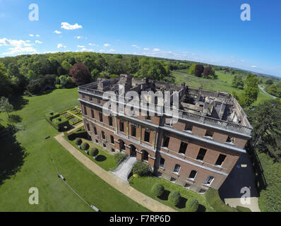 The aftermath of the devastating fire at Clandon Park, Surrey. A fire broke out on Wednesday 29 April 2015 at Clandon - Stock Photo