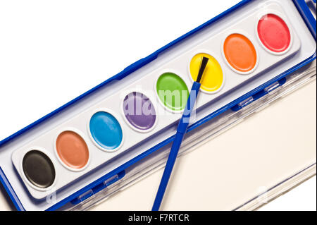 Palette of children\'s watercolor paints with paint brushes Stock ...