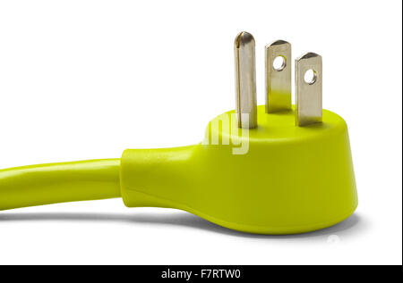 Green Electrical Cable Plug Isolated on White Background. - Stock Photo