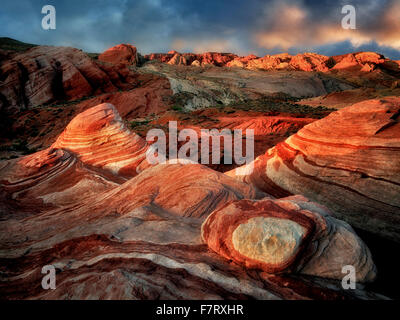 The Fire Wave at first light. Valley of fire State Park, Nevada - Stock Photo