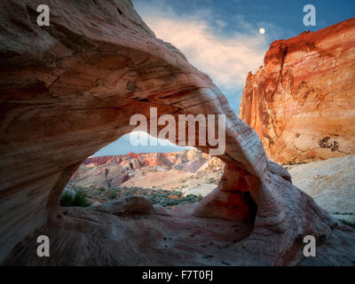 White Arch with moon. Valley of Fire State Park, Nevada - Stock Photo