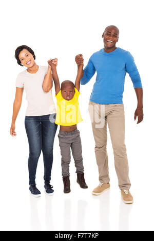 cheerful young African family having fun on white background - Stock Photo