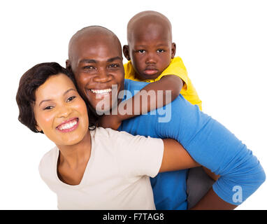 cheerful young African couple with their child isolated on white - Stock Photo