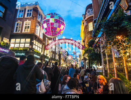 Christmas decorations London  Carnaby Street   Christmas London 2016 - Stock Photo