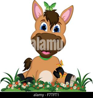 Cute cartoon horse on flower garden - Stock Photo