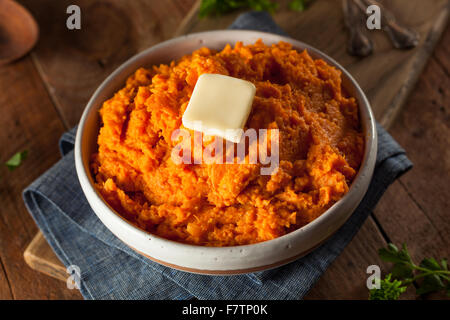 Organic Homemade Mashed Sweet Potatoes with Butter - Stock Photo