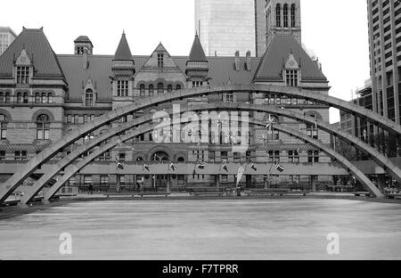 Architectural details of Nathan Phillips Square and the old City Hall in Toronto, Canada - Stock Photo