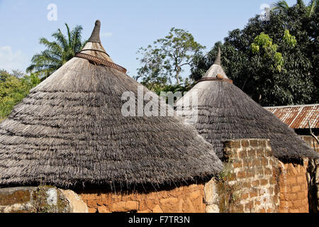 Thatched roofs on Kabye tribal huts in Togo - Stock Photo