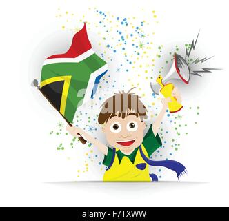 South Africa Soccer Fan Flag Cartoon - Stock Photo