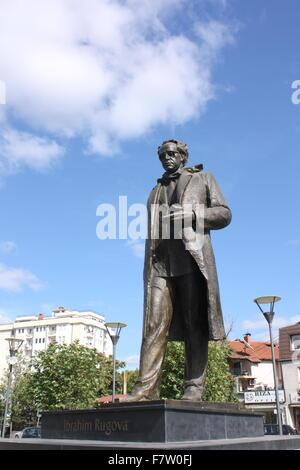 The statue of Ibrahim Rugova in Pristina, Kosovo - Stock Photo