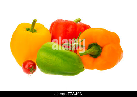 Bulgarian peppers - various color - Stock Photo