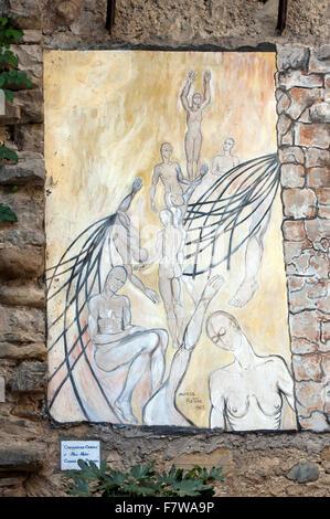 Mugnano, village of the painted walls, fresco on the wall by Maria Pistone, Umbria, Italy - Stock Photo