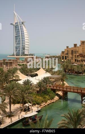 Burj al Arab Hotel with Madinat Jumeirah Resort, Dubai, United Arab Emirates - Stock Photo