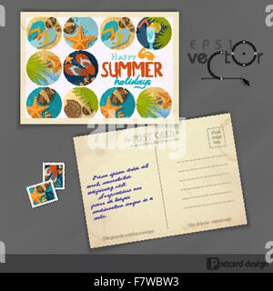 Old Postcard Design, Template - Stock Photo