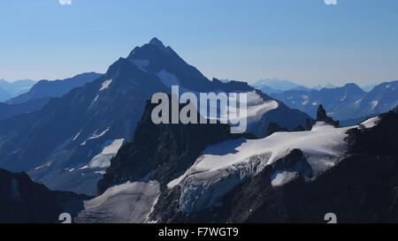 Beautiful shaped high mountains seen from Mt Titlis - Stock Photo