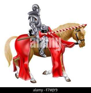 Medieval knight on a horse holding a lance reay for a joust - Stock Photo