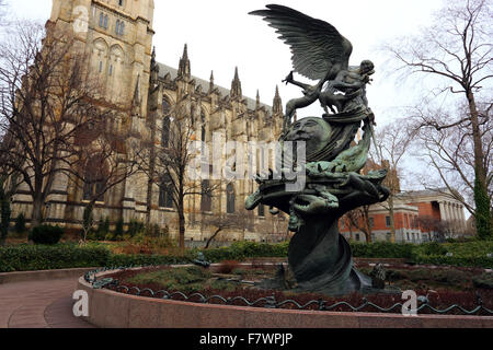 Peace Fountain at the Cathedral of St. John the Divine, NYC - Stock Photo