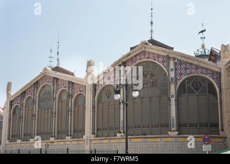 Exterior of Mercado Central, Valencia, Spain. - Stock Photo