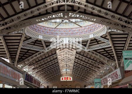 Interior of Mercado Central, Valencia, Spain. - Stock Photo
