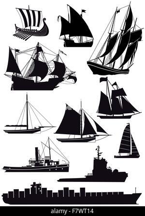 Ships and sailing ships - Stock Photo