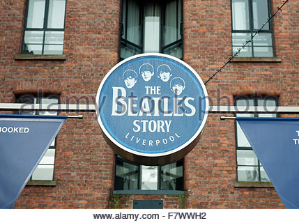 Liverpool UK The Beatles Story museum located in Albert Dock. - Stock Photo