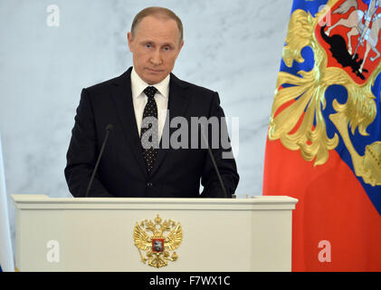 Moscow, Russia. 3rd Dec, 2015. Russian President Vladimir Putin delivers his annual State of the Union address to - Stock Photo