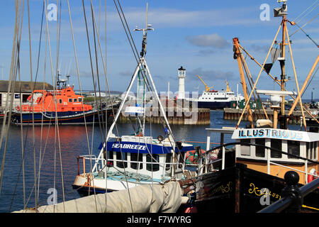 Boats and lighthouse The Basin Kirkwall Harbour Orkney Islands Scotland UK - Stock Photo