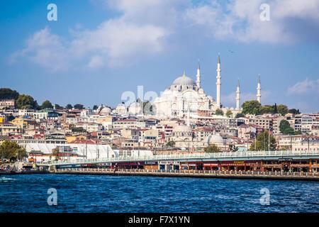 Istanbul Cityscape with the Suleymaniye Mosque, and Galata Bridge - Stock Photo