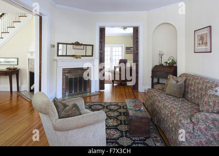 Queen Anne Victorian House Main Reception Room Living Parlor At Entrance With View Through To Dining