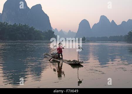 Cormorant Fisherman on River Li Guilin Region Guangxi, China LA008388 - Stock Photo