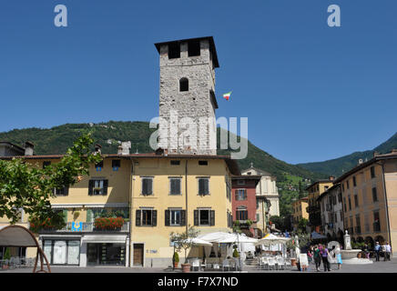 the town of Pisogne, Lake Iseo, Lombardy, Italy - Stock Photo