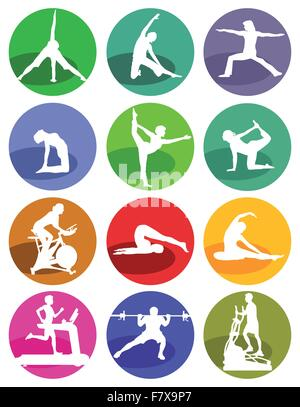 Gym and fitness figures on a white background - Stock Photo